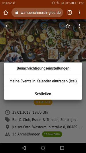 Single Events in Berlin in den Kalender hinzufügen